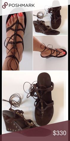 🌺 Lace up Sandals 🌺 Worn once. Studded wedge. Sexy. Dollhouse Shoes