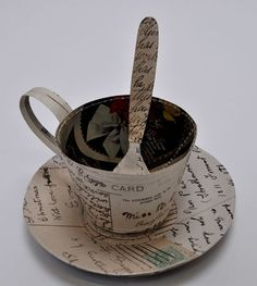 Paper artist Jennifer Collier stitches paper like cloth to construct objects. Paper sculptures and perfect first anniversary gifts. Shop from Jennifer Collier at madebyhandonline Jennifer Collier, Origami, Paper Art, Paper Crafts, First Anniversary Gifts, Bone China Tea Cups, Textiles, My Cup Of Tea, Everyday Objects
