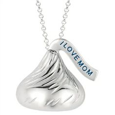 "Medium Flat Back Hershey's Kiss ""I LOVE MOM"" on plume Pendant includes a 16 inches with 2 inch extension Cable chain with Lobster claw."
