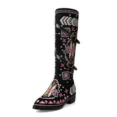89.30$  Buy here - http://alidzt.worldwells.pw/go.php?t=32496724907 - 43 2016 autumn winter thick heel national embroidery high boots for woman  genuine leather belt sexy female tall biker boots
