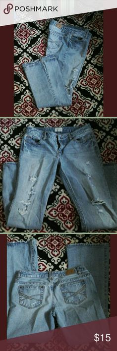 Aeropostale  Distressed Jeans Flared bottom, four pocket, distressed design on front legs, buttoned front, rivets and label on back waist  display brand name, measure  32 Inseam, 33 Waist. Bundle 3 or more items and get 30 % off at checkout. Aeropostale Jeans Flare & Wide Leg