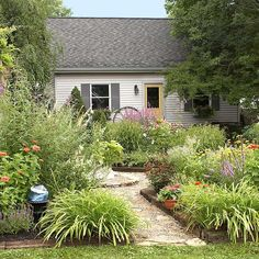 A gray cottage with a yellow front door with various evergreen plants flanking a stone walkway.