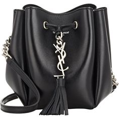 Saint Laurent Bucket Bag (4.110 RON) ❤ liked on Polyvore featuring bags, handbags, shoulder bags, purses, bolsas, sacs, accessories, black, black leather purse and chain shoulder bag