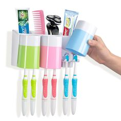 Warmlife Anti-dust Toothbrush Holder with 3 Cups Easily Wall Mounted Electric Toothbrush Storage Set