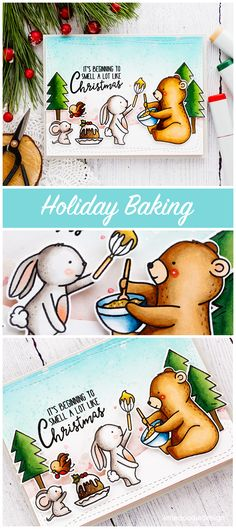 Cute Holiday baking handmade Christmas card by Debby Hughes using the Neat & Tangled Holiday Baking set.