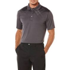 Ben Hogan Men's Golf Performance Linear Fading Chest Print Short Sleeve Polo Shirt, Gray