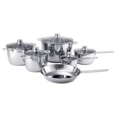 POLERAD 11-piece cookware set, stainless steel. Suitable for all types of cooktops, including induction cooktops. Thick base with one layer of aluminum between two layers of stainless steel. Induction Stove, Induction Cookware, Cast Iron Grill, Cast Iron Cooking, Cast Iron Cookware, Cookware Set, Ikea 365 Cookware, Electric Cooktop, Glass Cooktop