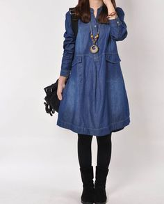 Denim dress Denim shirt Denim jacket long by originalstyleshop, $63.00
