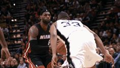 LeBron James pulls up in transition and buries the triple in the Heat's 98-96 Game 2 win over the Spurs. (06/08/14)