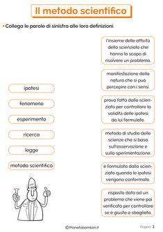 Metodo Scientifico: Schede Didattiche per la Scuola Primaria Back To School Activities, Science Fair Projects, Scientific Method, Toddler Preschool, Classroom, Student, Math, 3, Desktop