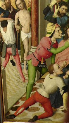 Lyversberg Passion Note how the hose on the left leg of the man in the foreground is coming unlaced or unsewi. 15th Century Fashion, 15th Century Clothing, Medieval Belt, Medieval Costume, Renaissance Clothing, Medieval Fashion, Medieval Crafts, Medieval Paintings, Armadura Medieval