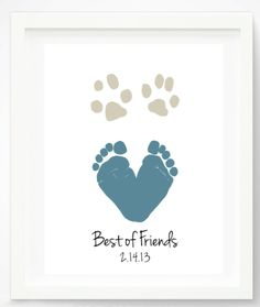 Baby & Dog Art Footprint and Paw Print, Gift from Pet, Best of Friends, New Baby Personalized with Your child's Feet, inches UNFRAMED Baby Footprint Dog Paw Art Print - Dog Paw Print - Baby and Pet Art - Personalized Gift for Dad - Animal Prints Kids Dog Paw Art, Pet Art, Rambo 3, Footprint Art, Baby Footprint Crafts, Handprint Art, Baby Footprints, Fathers Day Crafts, Baby Kind