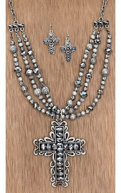 Cattilac Style® Hematite Beaded Silver Cross Jewelry Set | Cavender's Boot City
