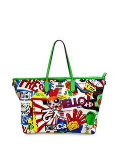 Powerpuff+Girls+Graphic-Print+Tote+Bag,+Multi+Colors+by+Moschino+at+Neiman+Marcus.