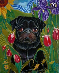 "Awesome ""famn pugs"" information is available on our website. Take a look and you wont be sorry you did. Black Pug Puppies, Dogs And Puppies, Raza Pug, Pug Illustration, Black Art Painting, Pugs And Kisses, Pug Art, Cute Pugs, Funny Pugs"