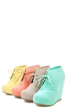 SO CUTE! Suede Laced Wedge Ankle Booties LEMON YELLOW