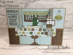 The Craft Spa - Stampin' Up! UK independent demonstrator : Anyone for a Coffee Break at the Craft Spa Cafe? Fancy Fold Cards, Folded Cards, Pop Up Cards, Cool Cards, 3d Cards, Bridge Card, Coffee Cards, Shaped Cards, Card Sketches