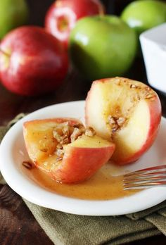 Filled with honey and cinnamon, Simple Honey-Baked Apples are a perfect fall-comfort-food dessert.   www.thekitchenismyplayground.com