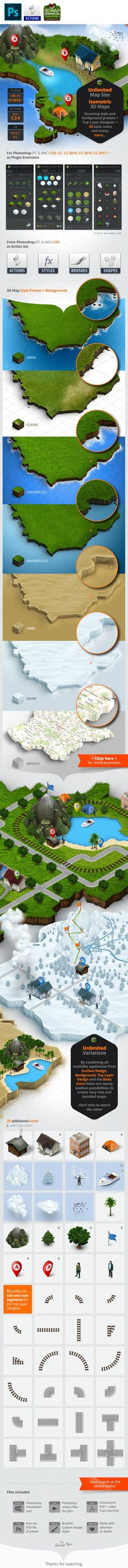 """3d, continent, country, creator, directions, earth, generator, geo, geographic, icons, infographic, isometric, land, landmark, layer, locations, maker, map, marker, photoshop, pin, plan, plugin, road, Routes, sketch, states, terrain, travel, web Update History November 5, 2016 - Panel CC-2017 Update Version 1.5 (for CC-2014 + only) November 17, 2015 - Comprehensive bug fix - small UI update and progress animation - Added """"Delete Layer"""" function October 8, 2015 - New panel installer f..."""