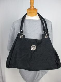 Baggallini Black XL TURNLOCK Valencia Work Satchel baby Travel Tote Studs Purse #Baggallini #TotesShoppers