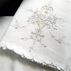 white work embroidery - pillowcases