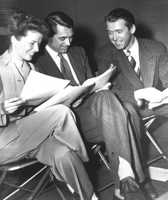 """Katharine Hepburn, Cary Grant and Jimmy Stewart at the Screen Actors Guild radio broadcast of """"The Philadelphia Story"""", 1947 Hooray For Hollywood, Golden Age Of Hollywood, Vintage Hollywood, Hollywood Stars, Classic Hollywood, Hollywood Images, Hollywood Glamour, Katharine Hepburn, Cary Grant"""