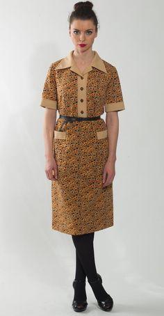 1970's Floral Print Dress  Vintage Sundress Beige by mijumaju, $45.00
