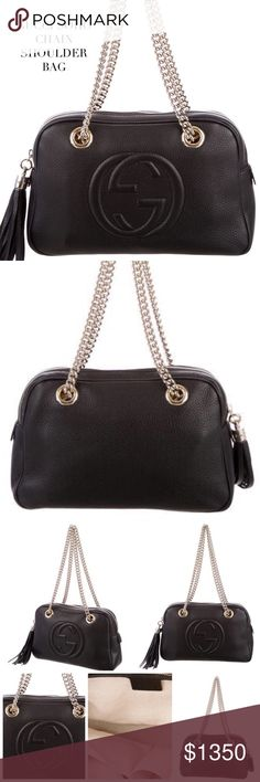 "GUCCI SOHO CHAIN BLACK SHOULDER BAG Gucci Soho Chain shoulder bag in black leather with gold-tone hardware, chain-link shoulder straps, canvas interior lining, 3 pockets at interior walls; 1 with zip closure and zip closure at top. Approx Measurements: Shoulder Strap Drop 9"", Height 7"", Width 10.5"", Depth 3"". Condition: Pristine-NWOT. Happy Poshing! Gucci Bags"