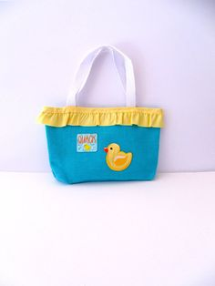 Aqua Duck Tote Bag with Light Yellow Ruffle - Baby Shower Gift - Children's Activity Bag on Etsy, $23.00