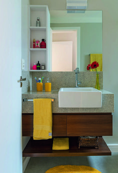 Com acabamentos atuais, o ambiente ficou elegante e funcional #Casa