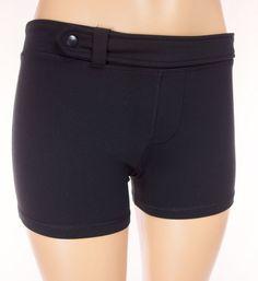 LULULEMON Shorts Size 8 M Medium Black Older Line Vtg Snap Belt Waist Run Yoga #Lululemon #Shorts