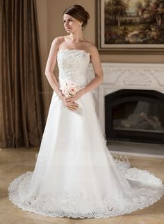 Wedding Dresses - $216.99 - A-Line/Princess Strapless Chapel Train Organza Satin Wedding Dress With Ruffle Lace Beadwork Sequins (002001238) http://jjshouse.com/A-Line-Princess-Strapless-Chapel-Train-Organza-Satin-Wedding-Dress-With-Ruffle-Lace-Beadwork-Sequins-002001238-g1238
