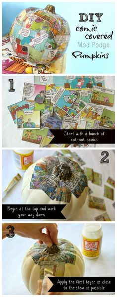 DIY Comic Covered Mod Podge Pumpkins