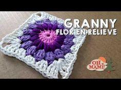 Cómo hacer un Granny square con flor a crochet. SUSCRIBETE - YouTube