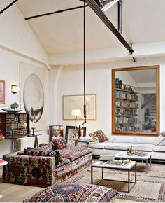 Modern loft apartment / All white / Wooden oak floor / Kilims Couch & Rugs & Cushions /