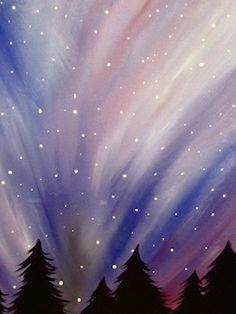 Winter sky painting... add a silhouette of santa's sleigh flying?