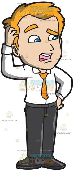 A Confused Businessman Scratches His Head :  A man with orange hair wearing a white dress shirt orange necktie dark gray pants belt and shoes parts his lips in confusion while scratching his head with his right hand  The post A Confused Businessman Scratches His Head appeared first on VectorToons.com.