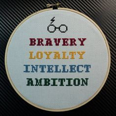 7 Harry Potter Hogwarts House Traits by FanStitch on Etsy, $20.00