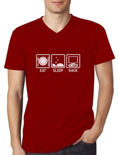 48ff7dcec Eat Sleep Hack - Hacker Computer Programmer Gift Idea V-Neck T-Shirt  Fsociety