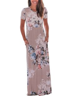 f15907b6d3 Murimia Womens Floral Print Short Sleeve Empire Flower Maxi Casual Dress  with Pocketed Coffee Medium