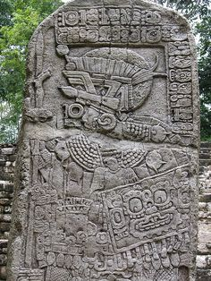 One of the stelae of the Mayan archaeological site at Sayaxché, Peten, Guatemala
