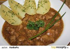 Pork with leek - Vepřové na pórku recept - TopRecepty. No Salt Recipes, Chana Masala, Stew, Mashed Potatoes, Food And Drink, Meat, Cooking, Ethnic Recipes, Pork Tenderloins