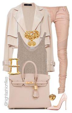 """""""$"""" by highfashionfiles ❤ liked on Polyvore featuring Balmain, TIBI, Zara, Hermès, Christian Louboutin, Versace, Paula Mendoza, women's clothing, women's fashion and women"""