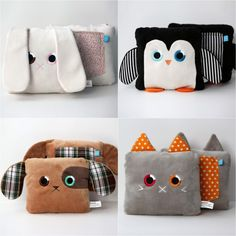 FURNITURE/ETC., APARTMENT, BEDROOM AREA HOBBY, CRAFTING dog (brown plush throw pillow with plaid ears on sides and plaid pocket on back, eyes and nose of dog on front)-- craft for Kaye, little note in pocket each morning