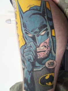 Love how it looks like from a comic.(: batman geek tattoo