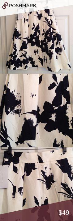 ZARA CREAM MIDI SKIRT WITH BLACK FLORAL SPLASHES Gorgeousness!! Cream with black floral splashes! A- line midi.. Stunning. Brand new with tags. Zara Skirts