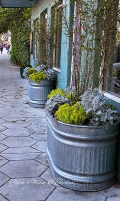 15 Cool DIY Galvanized Tubs Ideas For Your Backyard Today we prepare great ideas for you how to use galvanized tubs in your garden. Also known as water troughs and galvanized tubs, these versatile Front Porch Flowers, Front Porch Planters, Galvanized Planters, Trough Planters, Flower Planters, Garden Planters, Big Planters, Metal Planters, Garden Windows