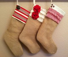 Burlap Christmas Stocking: Red and White Collection