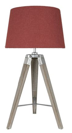 Grey Hollywood Table Lamp With Square Terracotta Linen ...