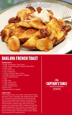Baklava French Toast: Toast with a nutty filling and a spiced glaze. # ...